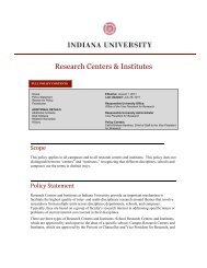 Research Centers Policy - Aug 2011 - Indiana University