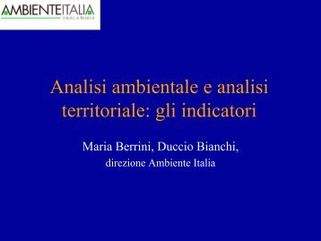 analisi ambientale e analisi territoriale: gli indicatori
