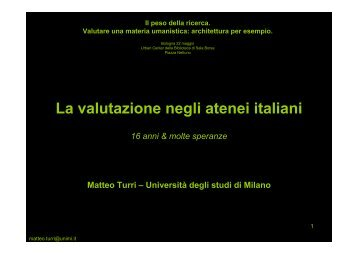 La valutazione negli atenei italiani - Università IUAV di Venezia
