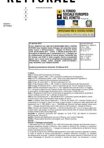 006 Sordina - decreto - Università IUAV di Venezia