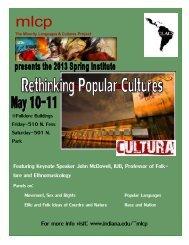 The Minority Languages & Cultures Program - Indiana University ...