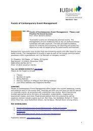 Facets of Contemporary Event Management - IUBH