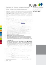 Anerkennung von Studienleistungen - Leitfaden - IUBH