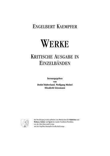 Engelbert Kaempfer. Kritische Ausgabe in Einzelbänden