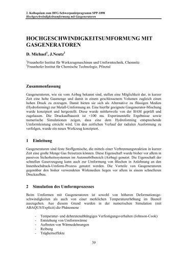 hochgeschwindigkeitsumformung mit gasgeneratoren - Institut für ...