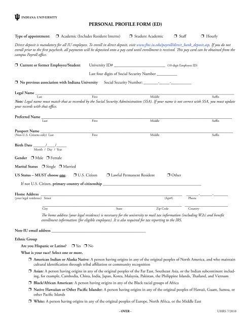 PERSONAL PROFILE FORM (ED) - Indiana University Northwest