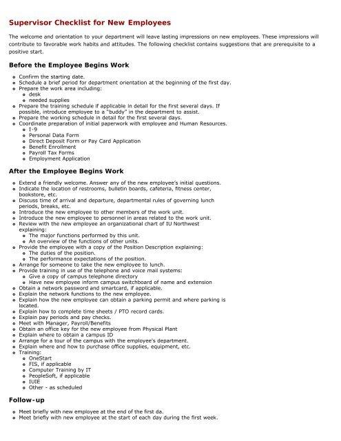 Supervisor's New Employee checklist