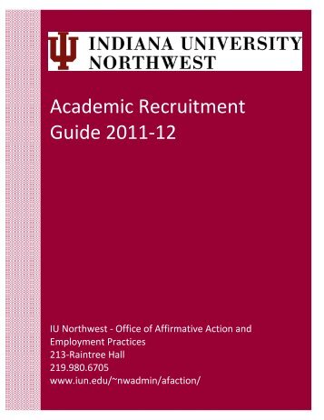 Academic Recruitment Guide - Indiana University Northwest
