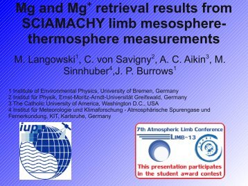 Mg and Mg+ retrieval results from SCIAMACHY limb mesosphere ...
