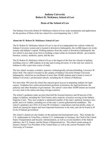 School of Law Dean position description (PDF) - IUPUI