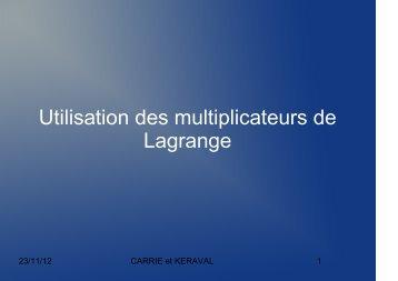 Utilisation des multiplicateurs de Lagrange - IUT d'Arles