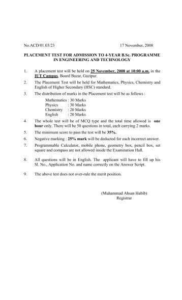 placement test for admission to 4-year b - Islamic University of ...