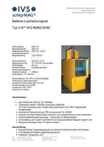 Batterie-Lasthebemagnet Typ IVS-WO-RM82/30/60