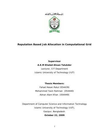 Reputation Based Job Allocation in Computational Grid - Islamic ...