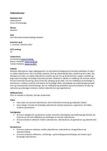 Vidensformer - Det Informationsvidenskabelige Akademi
