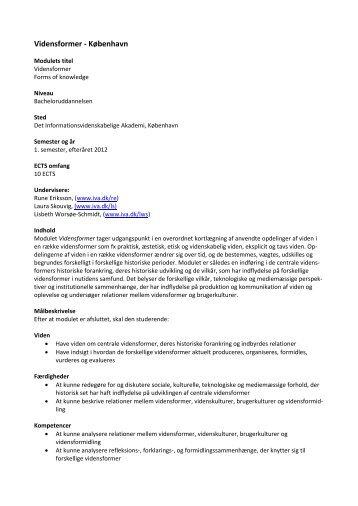 Vidensformer - København - Det Informationsvidenskabelige Akademi