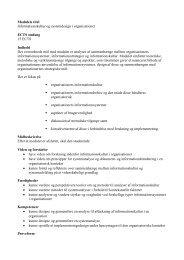 Modulets titel Informationskultur og systemdesign i organisationer ...