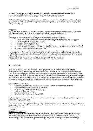 Undervisning på 2, 4. og 6. semester (projektsemestrene) i ... - IVA