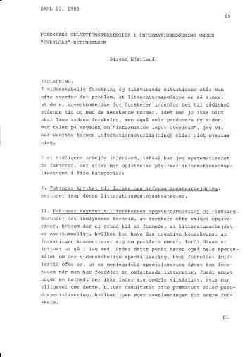 OVERLOAD '' _BETINGELSER Bj-rger HJOrland INDLEDNING - IVA
