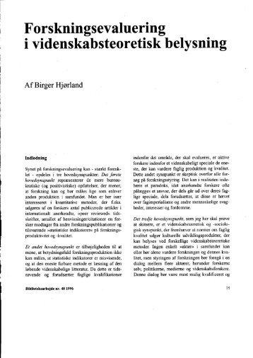 Forskningsevaluering i videnskabsteoretisk belysning - Det ...