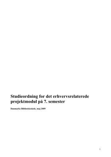 Studieordning for det erhvervsrelaterede projektmodul 2009 - IVA