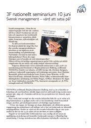 Svensk management – värd att satsa på? 2008-06-10 - IVA