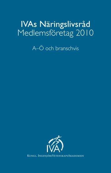IVAs Näringslivsråd Medlemsföretag 2010