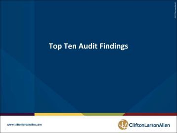 Top 10 Audit Findings - CliftonLarsonAllen - IVCC