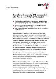 Branchenweit einmalig: DPD transportiert alle Pakete ohne Aufpreis ...