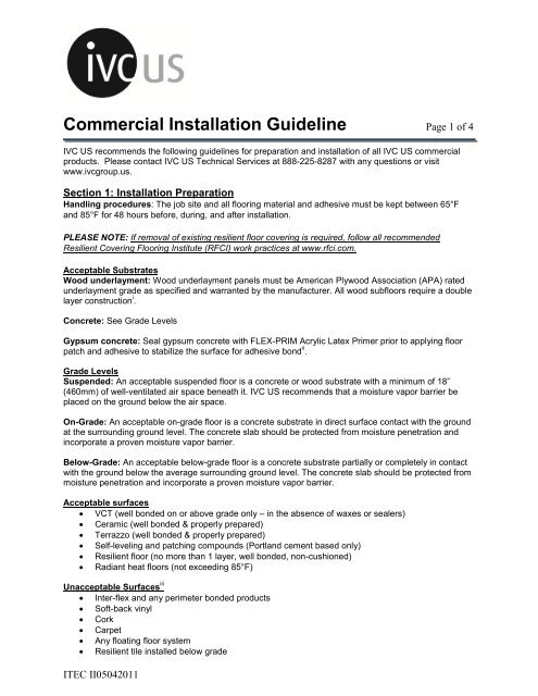 Commercial Installation Guideline - IVC Group
