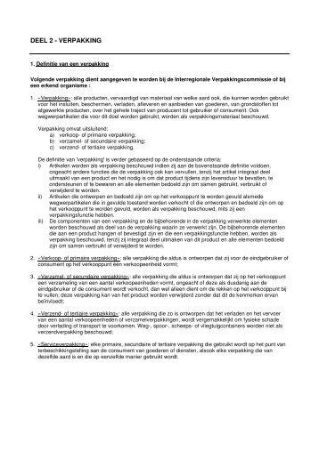 DEEL 2 - VERPAKKING - Interregionale Verpakkingscommissie