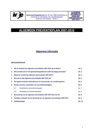 ALGEMEEN PREVENTIEPLAN 2007-2010 - Interregionale ...