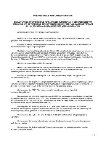 (./..) INTERREGIONALE VERPAKKINGSCOMMISSIE BESLUIT VA N ...