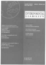 Industrial risk and natural resources: The EU Environmental Liability ...