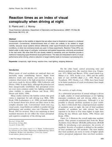 Reaction times as an index of visual conspicuity when driving at night