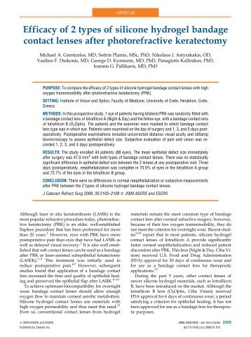 Efficacy of 2 types of silicone hydrogel bandage contact lenses after ...