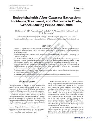 Endophthalmitis After Cataract Extraction: Incidence, Treatment, and ...