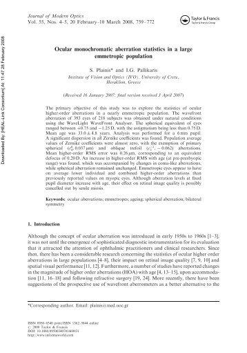 Ocular monochromatic aberration statistics in a large - ResearchGate