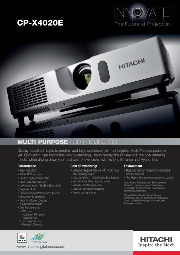 Hitachi CP-X4020E Brochure