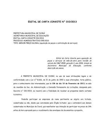 edital de carta convite n° 010/2013 - Prefeitura Municipal de Ivorá