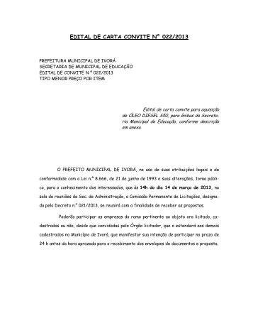 edital de carta convite n° 022/2013 - Prefeitura Municipal de Ivorá