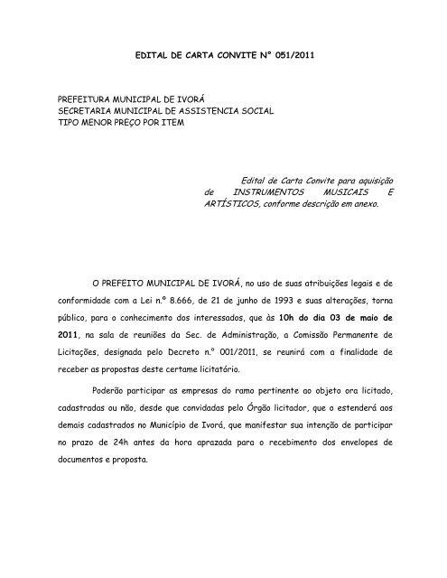 Edital de Carta Convite para aquisição de INSTRUMENTOS ...