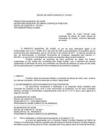 EDITAL DE CARTA CONVITE N° 107/2011 PREFEITURA ...