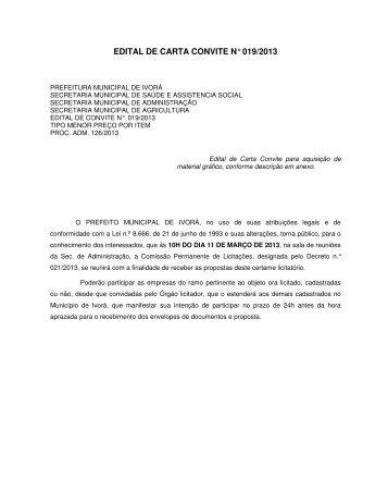 edital de carta convite n° 019/2013 - Prefeitura Municipal de Ivorá