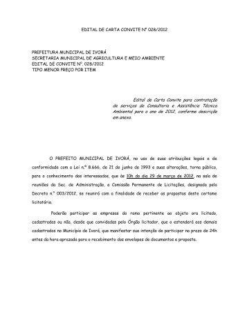 Edital de Carta Convite para contratação de serviços de Consultoria ...