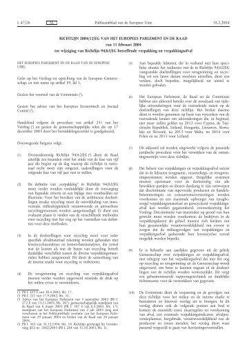 RICHTLIJN 2004/12/EG VAN HET EUROPEES ... - EUR-Lex