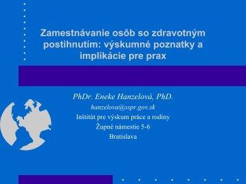 Eneke Hanzelová - Inštitút pre výskum práce a rodiny