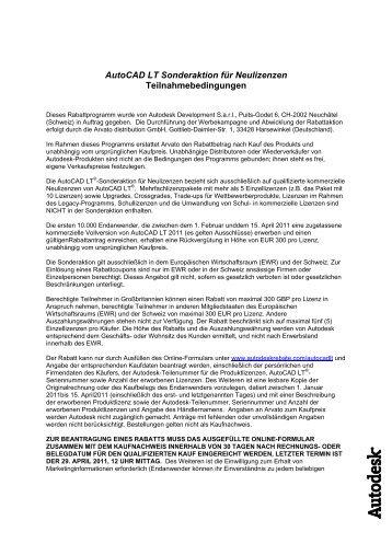 Autocad LT Sonderaktion für Neulizenzen ... - CWSM Gmbh