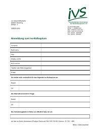 Anmeldeformular für das ivs-Kolloquium