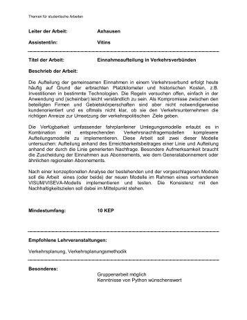 Leiter der Arbeit: Axhausen Assistent/in: Vitins ... - IVT - ETH Zürich